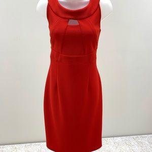 Body Con Dress Vintage Joseph Ribkoff Hot Orange Hot Pink 80s 90s